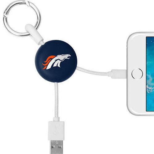 MIZCO  Broncos Lightning Cable w/ Keyring