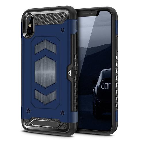 Apple iPhone XS Hybrid Armor Card Holder Shockproof Case Blue