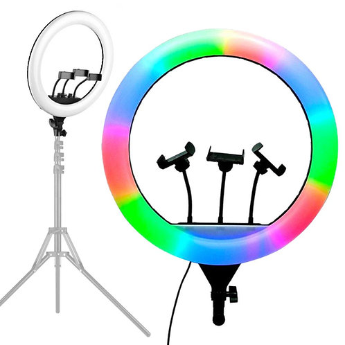 RGB Light 18in Selfie Ring Light with 76in Tripod Stand & 3 Cell Phone Holder