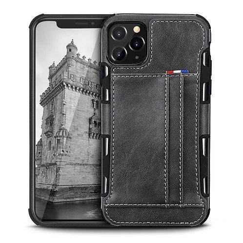 Apple iPhone 11 Pro Durable Shockproof Soft TPU Case Back Leather Card Holder Wa