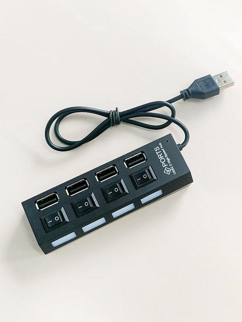 Four-USB Splitter With Light & Switch