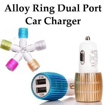 Alloy Ring Dual USB Port Car Charger Metallic Design