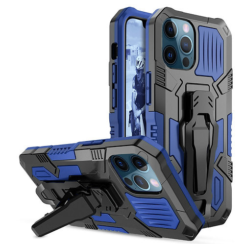 Apple iPhone 12 Pro Max (6.7 inch) Heavy Duty Armor Belt Clip Kickstand Protecti