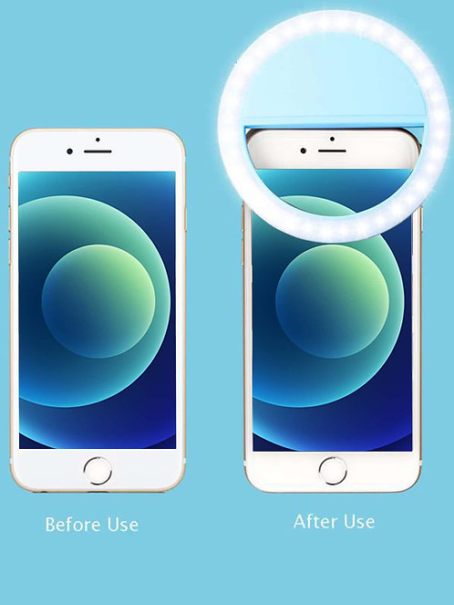 Clip-On LED Selfie Ring Light with 3 Brightness Modes