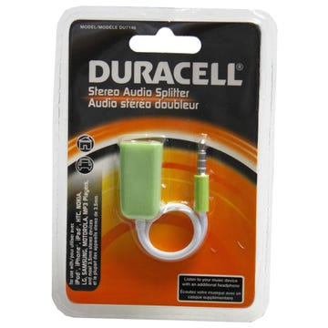 Duracell Stereo Audio Splitter Cable in Green
