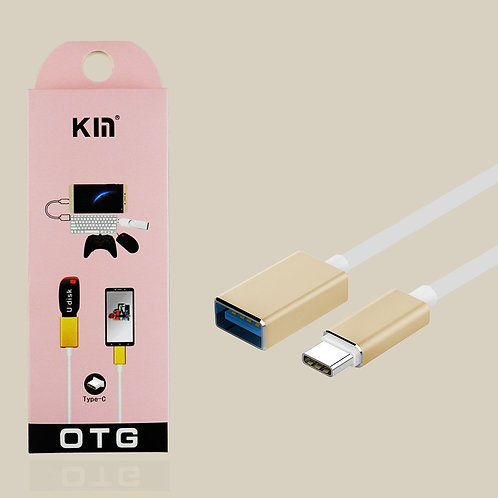 Type-C USB to OTG USB Data / Charge and Sync Cable Adapter 6in (Champagne Gold)