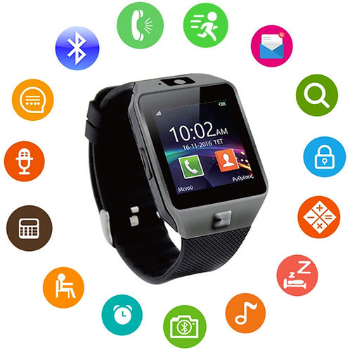 Veme Bluetooth Smart Watch with Camera for IOS and Andriod (Grey Frame/Black)