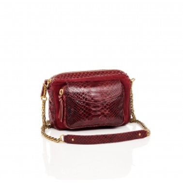 Sac Python Charly bordeaux suede - Claris Virot