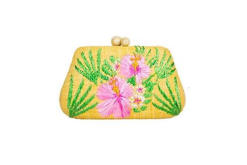 Rosie pochette sac jaune & hibiscus rose - Rafé New York