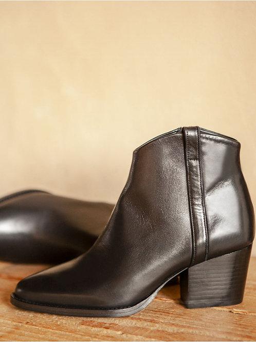Bottines n°704 cuir noir - Rivecour