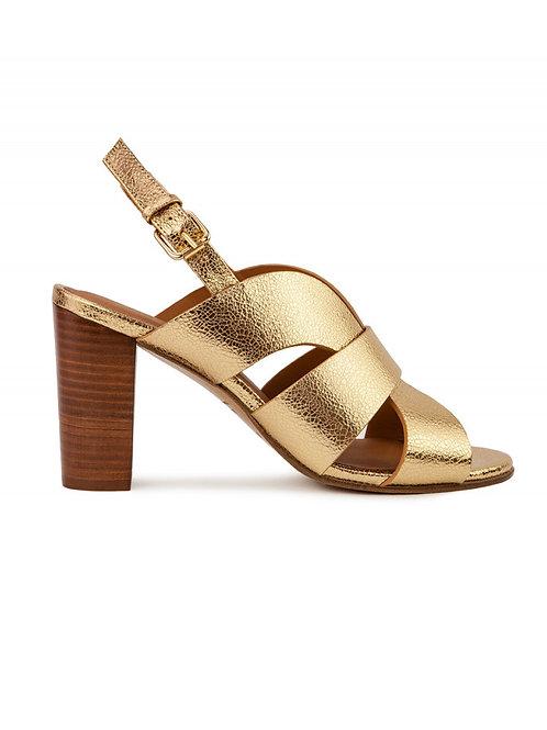Sandales n°55 cuir doré craquelé - Rivecour