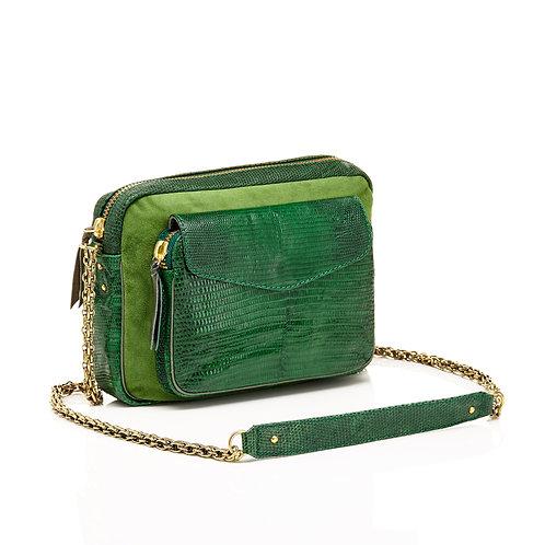 Sac lézard big Charly tricolore vert mousse - Claris Virot