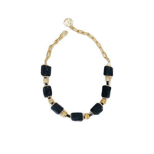 Bracelet spinelle noire brute - Au fil de LO