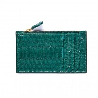 Porte carte python Helena bleu canard - Claris Virot