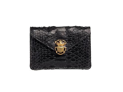 Porte carte python Alex noir scarabée or - Claris Virot