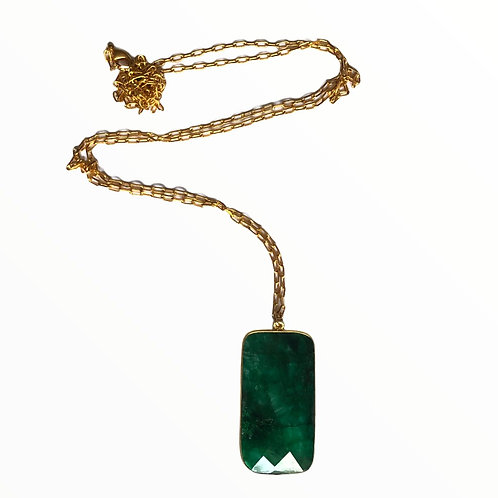 Sautoir pierre coloris vert émeraude - Oyat bijoux