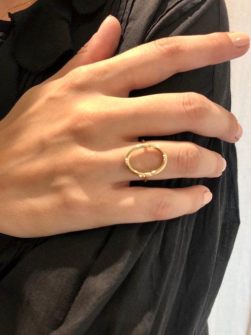 Bague anneau ovale - Au fil de Lo