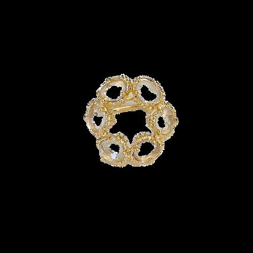 Bague ronde cristal de roche - Au fil de Lo