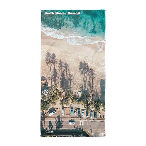 North Shore, Hawaii Palms. aerial beach towel