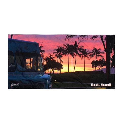 Maui sunset food truck beach towel