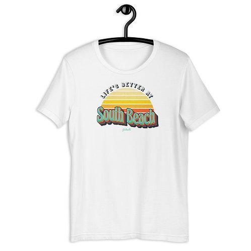 Life's better at South Beach - Retro Sunrise - Short-Sleeve Unisex T-Shirt