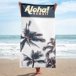 Aloha, Hawaii - Palm Tree beach towel