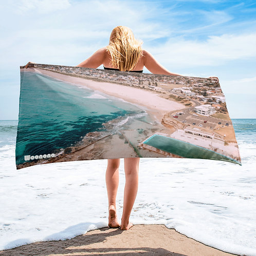 Woonona beach and pool aerial image beach towel