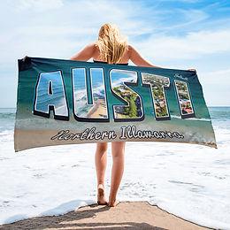 AUSTI - Northern Illawarra beach towel with image background