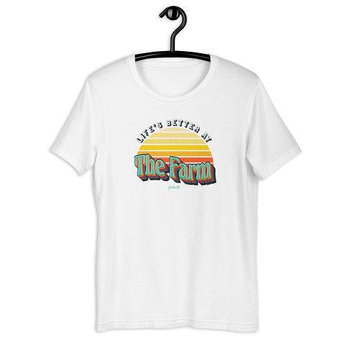 Life's better at The Farm - Retro Sunrise - Saltcalls Unisex T-Shirt