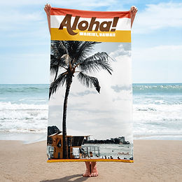 Aloha, Waikiki beach towel (retro style)