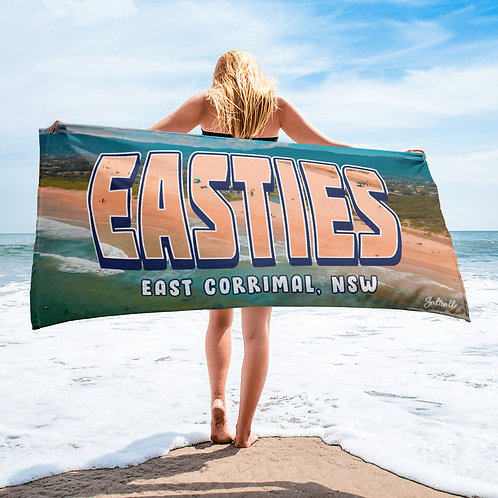 "East Corrimal ""EASTIES"" summer aerial image beach towel"