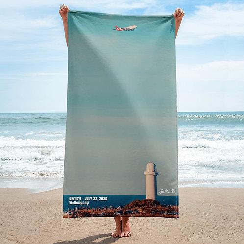 QF7474 final flight over Wollongong beach towel
