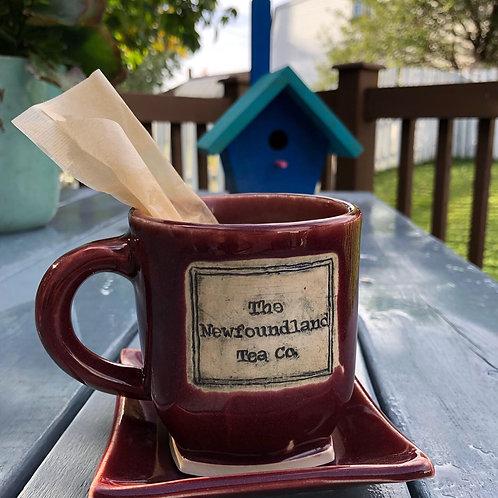 Red Newfoundland Tea Company Mug and Saucer Set