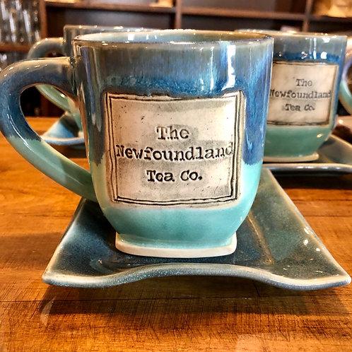 Blue on Blue Newfoundland Tea Company Mug and Saucer Set