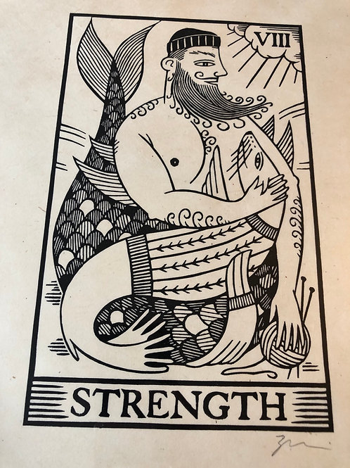 9x12 Print of Graham Blair's 'Strength' Newfoundland Tarot Card Woodcut