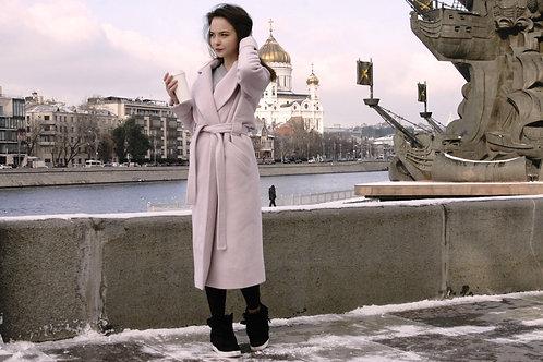 Пальто. Осень. Шерсть. Нежно-розовое