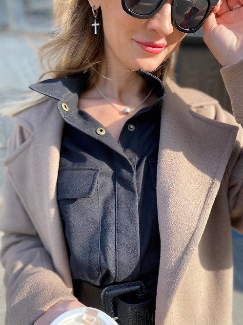 Пальто-халат с английским воротником на поясе.  Шерсть. Без утеплителя.