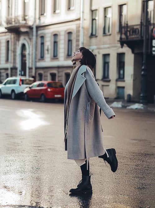 Пальто-халат с английским воротником. Шерсть. Утепленное.