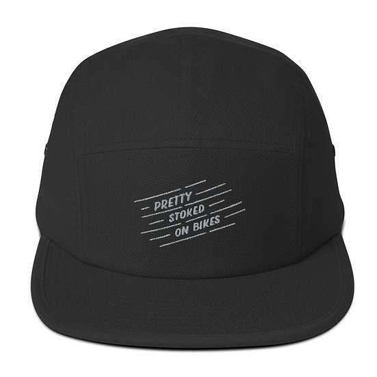 Stoked on Bikes 5 Panel Hat - Silver
