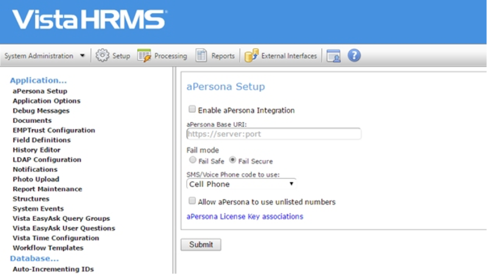 Vista HRMS aPersona ASM Plugin for Single Click Adaptive Authentication Setup.