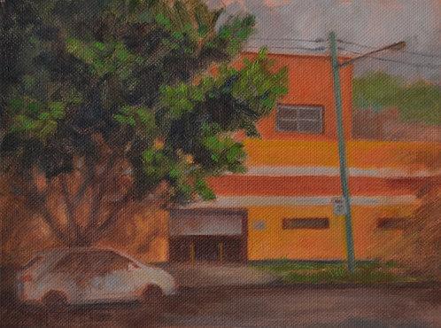 An orange building