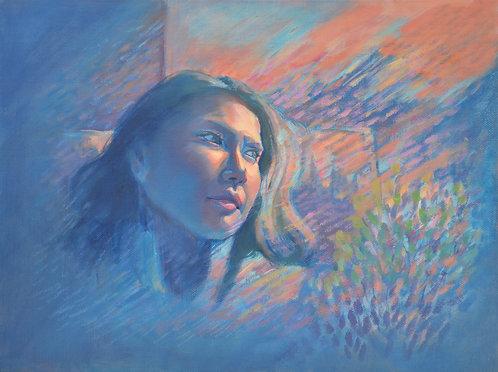 A blue self-portrait