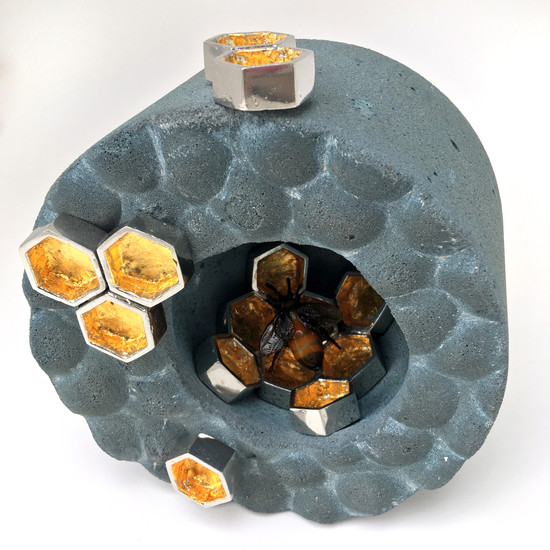 Home Series Honey Bee Pewter, concrete, gold leaf