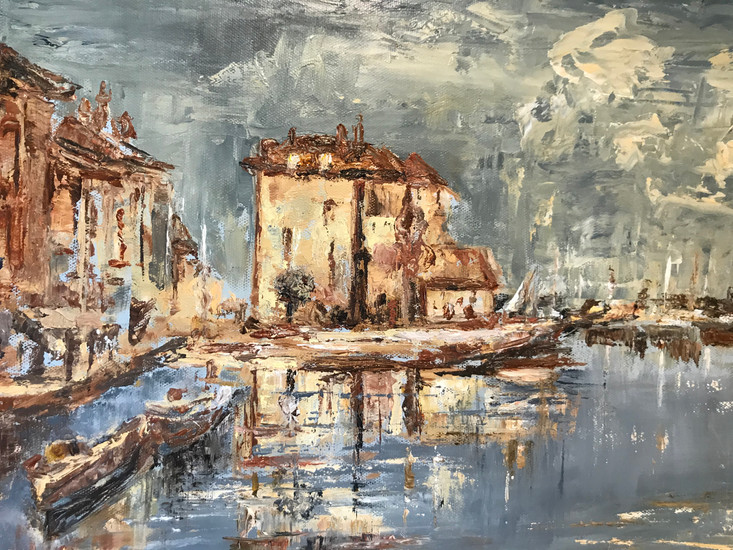 Honfleur Harbour Midday Oil on canvas