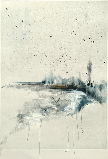 Chill Mixed-media monotype with hand embroidary