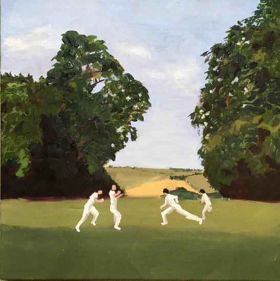 Castle Cricket, Sussex v Australia A, July 2019 Oil on canvas