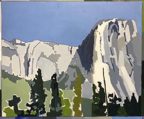 Snow Melt, Yosemite Oil on panel 30cm x 19cm