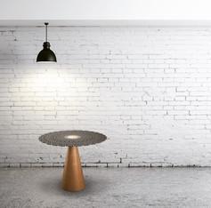 Steel & oak side table