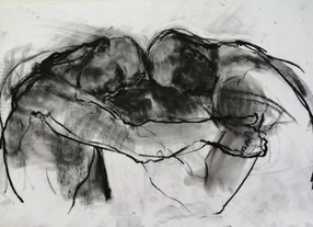 The Wrestlers Sketch Charcoal & graphite
