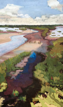 Pagham Harbour, low tide Oil on canvas
